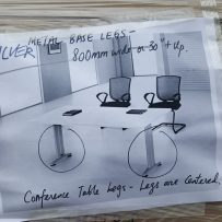 1 Silver conference table legs